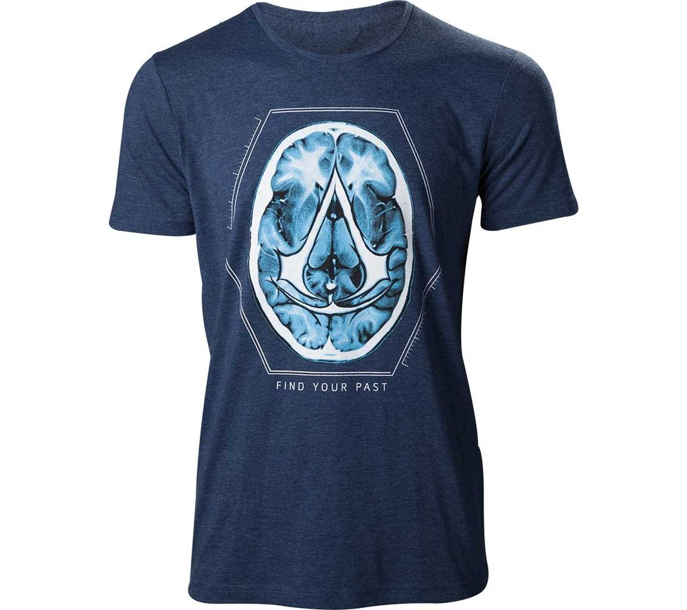 ASSASSINS CREED Find Your Past Brain Crest T-Shirt - Large, Navy