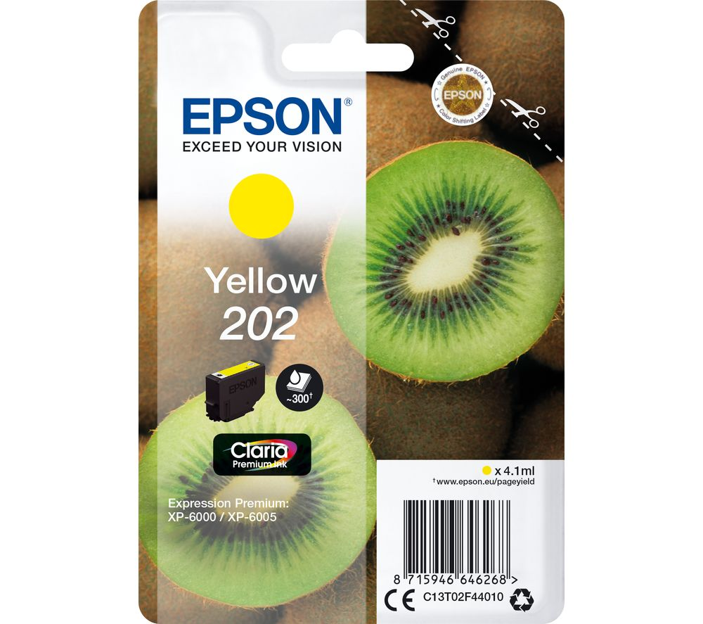 EPSON 202 Kiwi Yellow Ink Cartridge, Yellow
