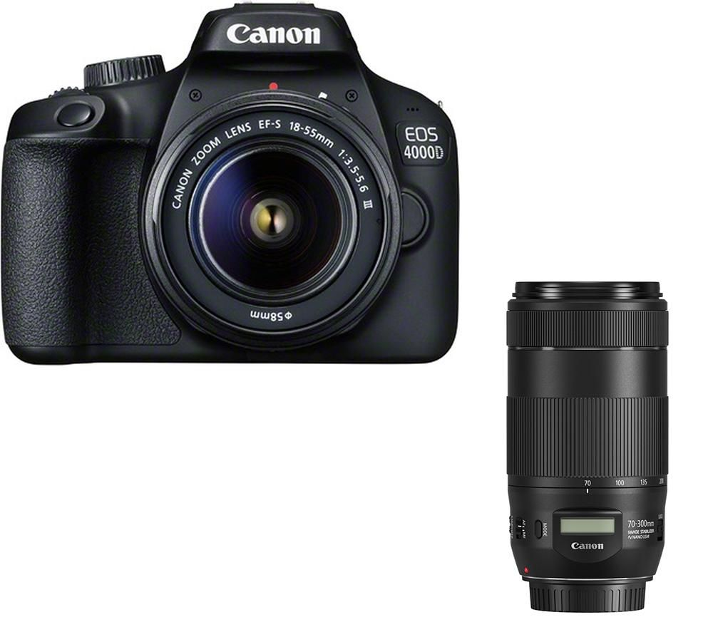 CANON EOS 4000D DSLR Camera, EF-S 18-55 mm f/3.5-5.6 Lens & EF 70-300 mm F/4-5.6 Lens Bundle