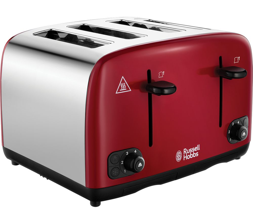 Image of RUSSELL HOBBS Cavendish 24092 4-Slice Toaster - Red, Red