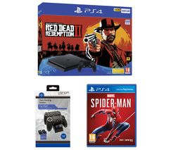 SONY PlayStation 4, Red Dead Redemption 2, Spider-Man & Twin Docking Station Bundle