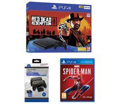 SONY PlayStation 4, Red Dead Redemption 2, Spider-Man & Twin Docking Station Bundle
