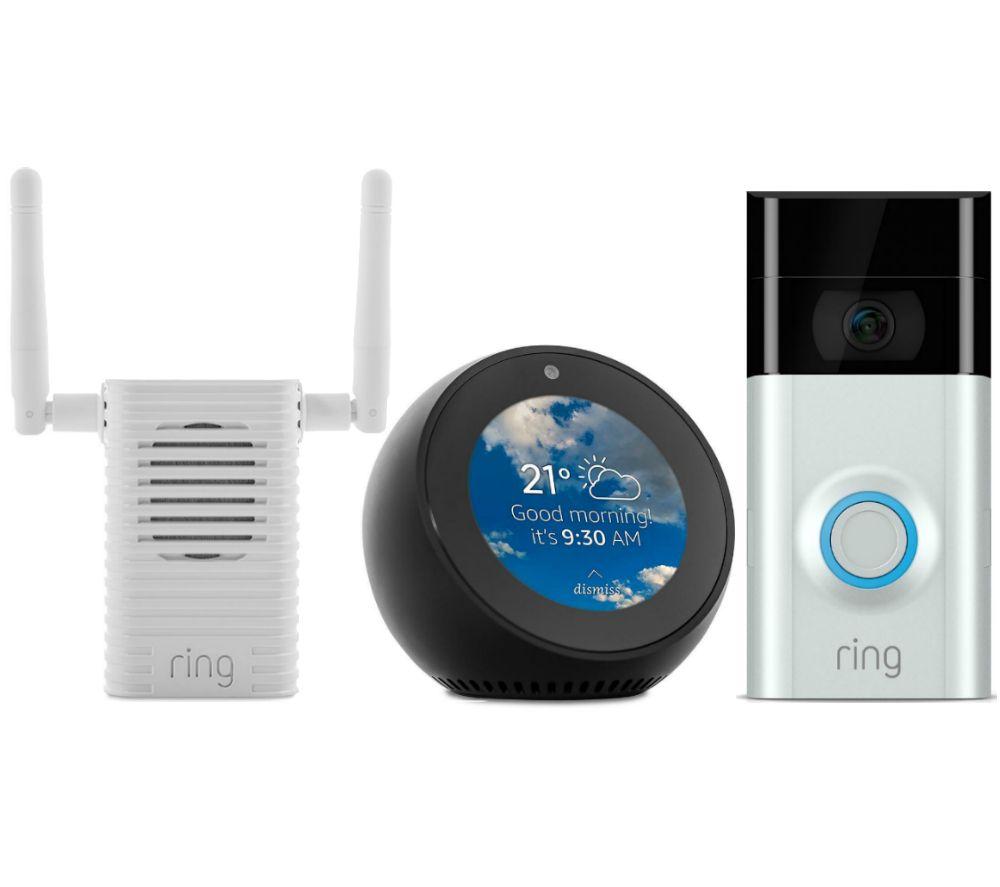 RING Video Doorbell 2, Chime Pro Wi-Fi Extender & Amazon Echo Spot Bundle -  Black
