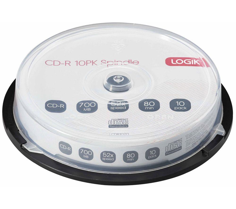 LOGIK 52x Speed CD-R Blank CDs - Pack of 10
