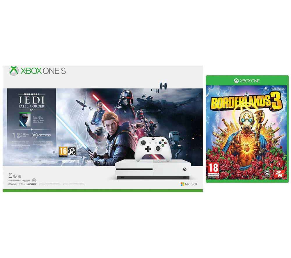 Image of MICROSOFT Xbox One S, Star Wars Jedi: Fallen Order Deluxe Edition & Borderlands 3 Bundle - 1 TB