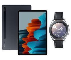 """SAMSUNG Galaxy Tab S7 11"""" Tablet & Silver Galaxy Watch3 Bundle"""