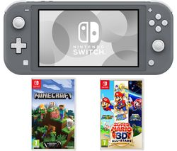 Switch Lite, Minecraft & Super Mario 3D All-Stars Bundle - Grey