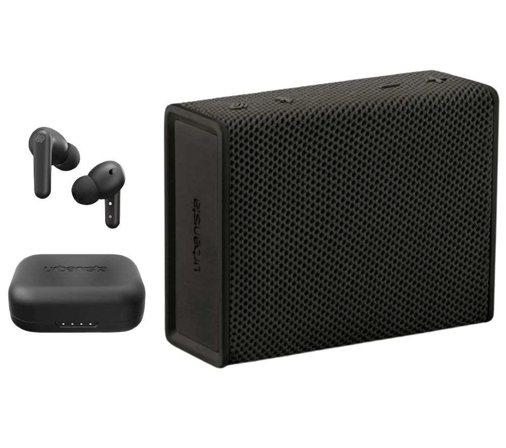 URBANISTA London Wireless Bluetooth Noise-Cancelling Earphones & Sydney Portable Speaker Bundle - Black