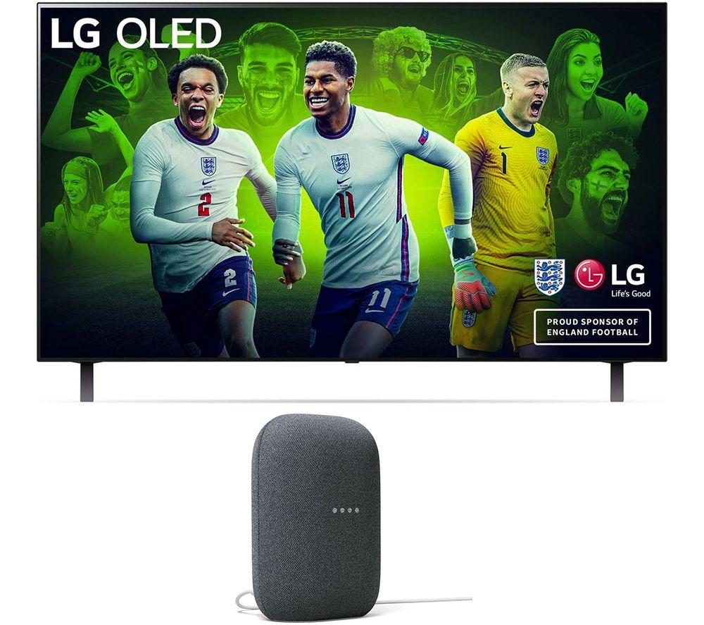 """LG OLED48A16LA 48"""" Smart 4K Ultra HD HDR OLED TV & Charcoal Google Nest Audio Bundle"""