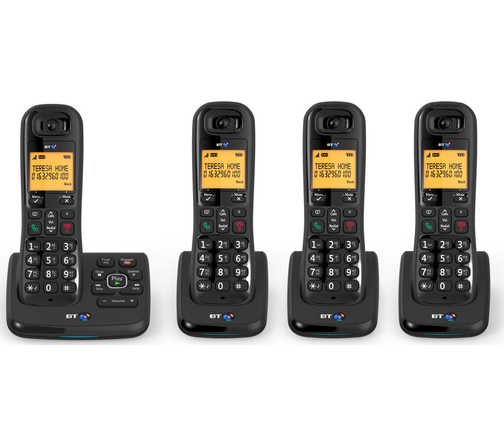Bt Xd56 Cordless Phone With Answering Machine Quad Handsets