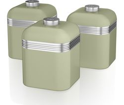 SWAN Retro SWKA1020GN 1-litre Canisters - Green, Pack of 3