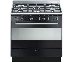 SMEG Concert 90 cm Dual Fuel Range Cooker - Black Best Price, Cheapest Prices