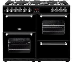 BELLING Kensington 100DFT Dual Fuel Range Cooker - Black & Chrome Best Price, Cheapest Prices