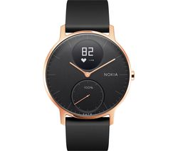 NOKIA Steel HR 36 Fitness Watch - Rose Gold & Black, Silicone Strap