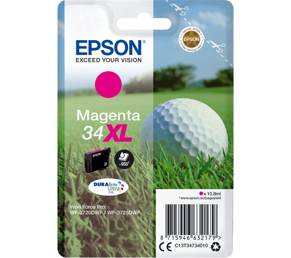 EPSON 34 Golf Ball XL Magenta Ink Cartridge, Magenta