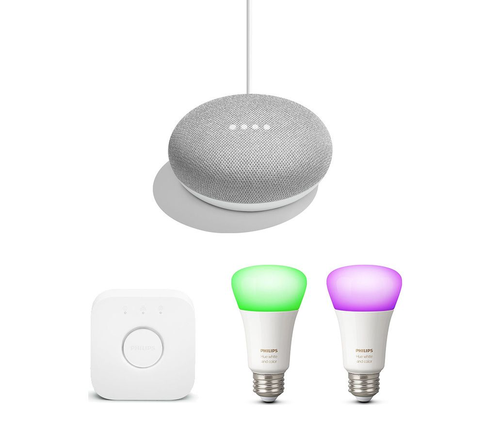 PHILIPS Hue White and Colour Ambiance Mini Smart Bulb E27 Starter Kit &  Google Home Mini Chalk Bundle