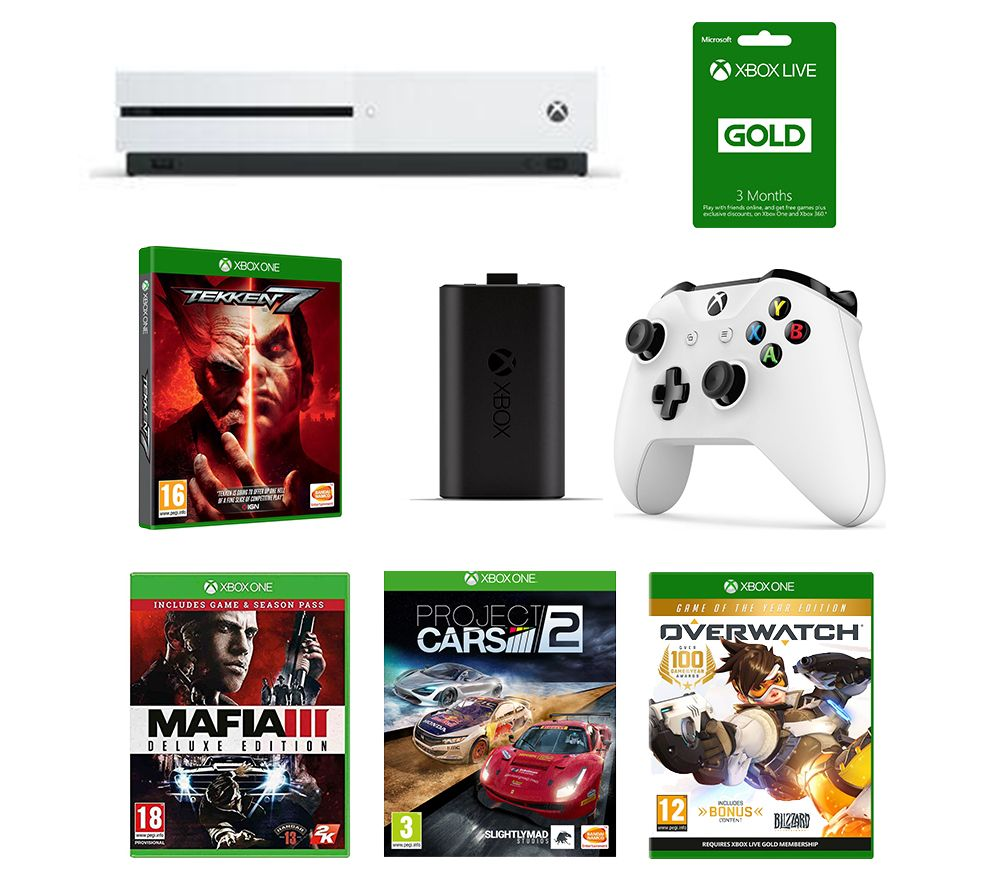 MICROSOFT Xbox One 1 TB, Tekken 7, Mafia III, Overwatch, Project Cars 2, LIVE Gold Membership, Controller & Charging Kit Bundle