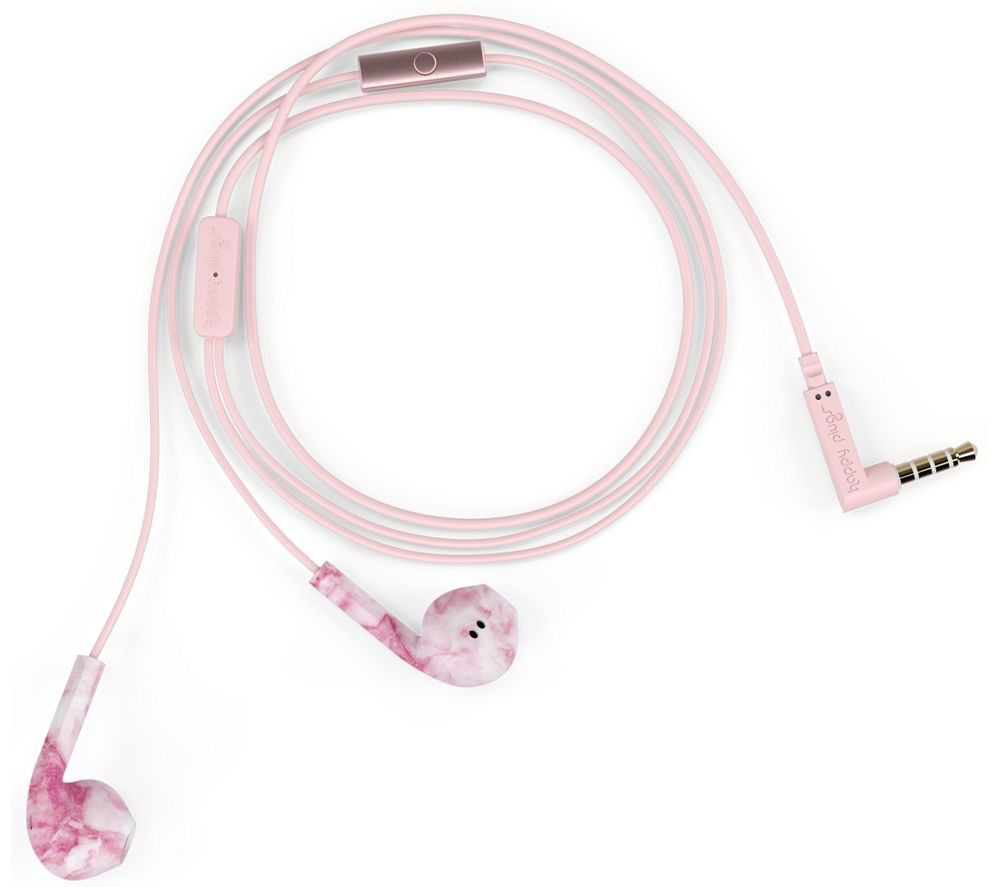 Image of HAPPY PLUGS Earbud Plus Earphones - Pink Marble, Pink