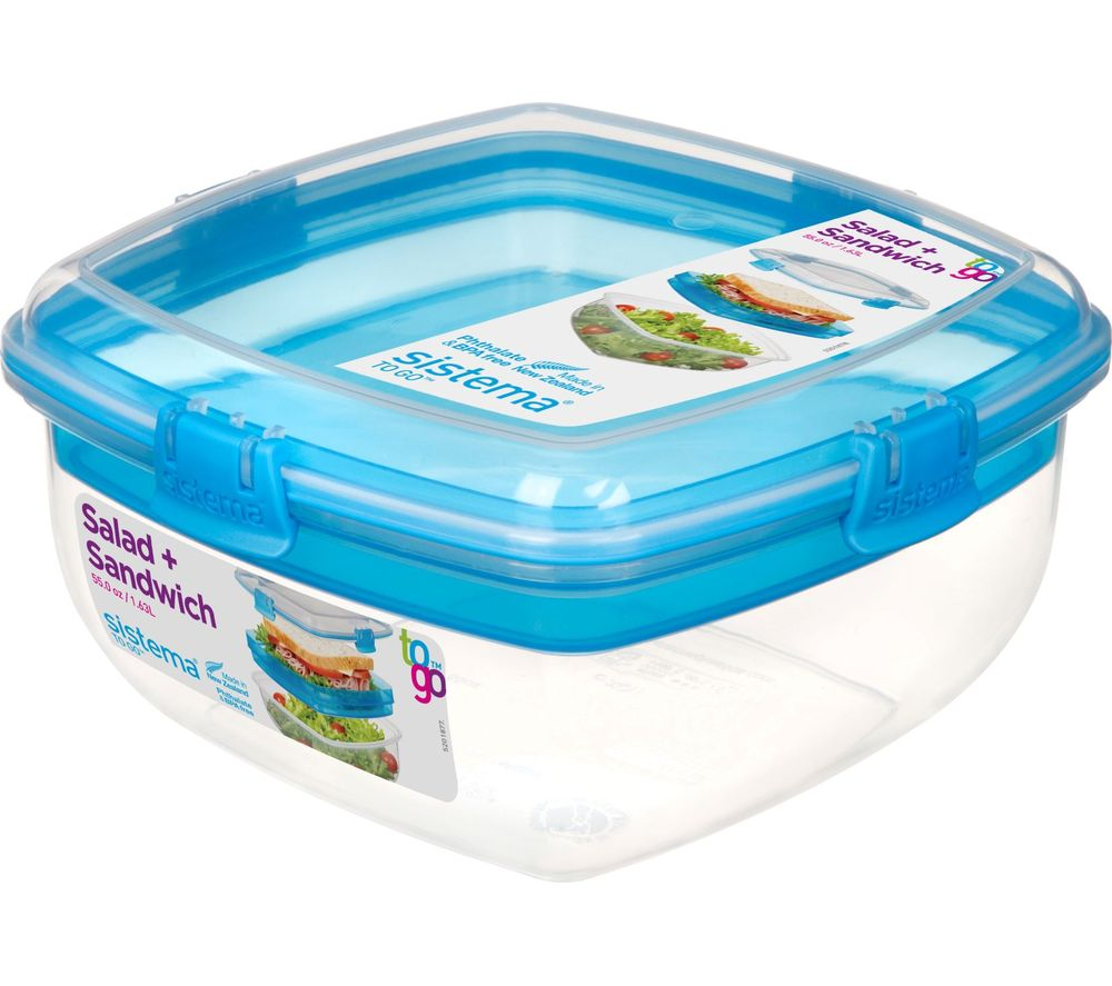 SISTEMA Salad & Sandwich To Go 1.63-litre Container