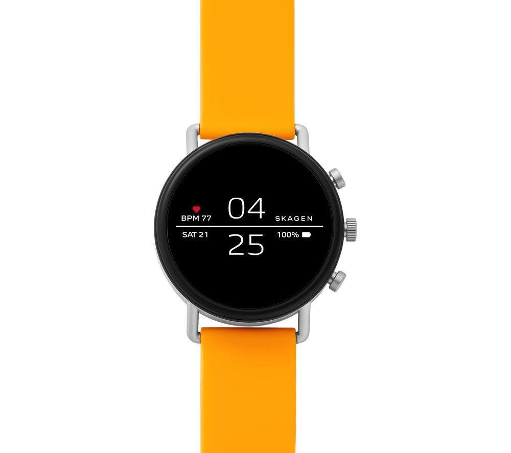 Image of SKAGEN Falster 2 Smartwatch - Yellow, Silicone Strap, Yellow
