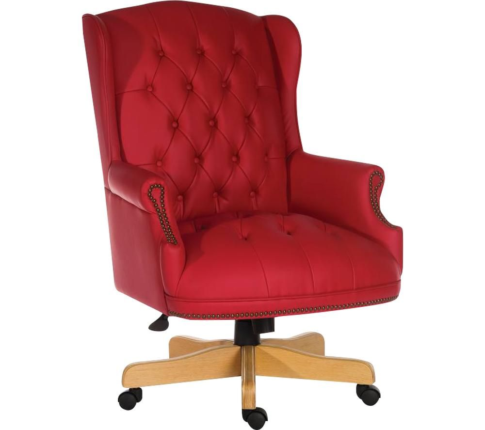 Image of Chairman Rouge Bonded-leather Tilting Executive Chair - Red, Red