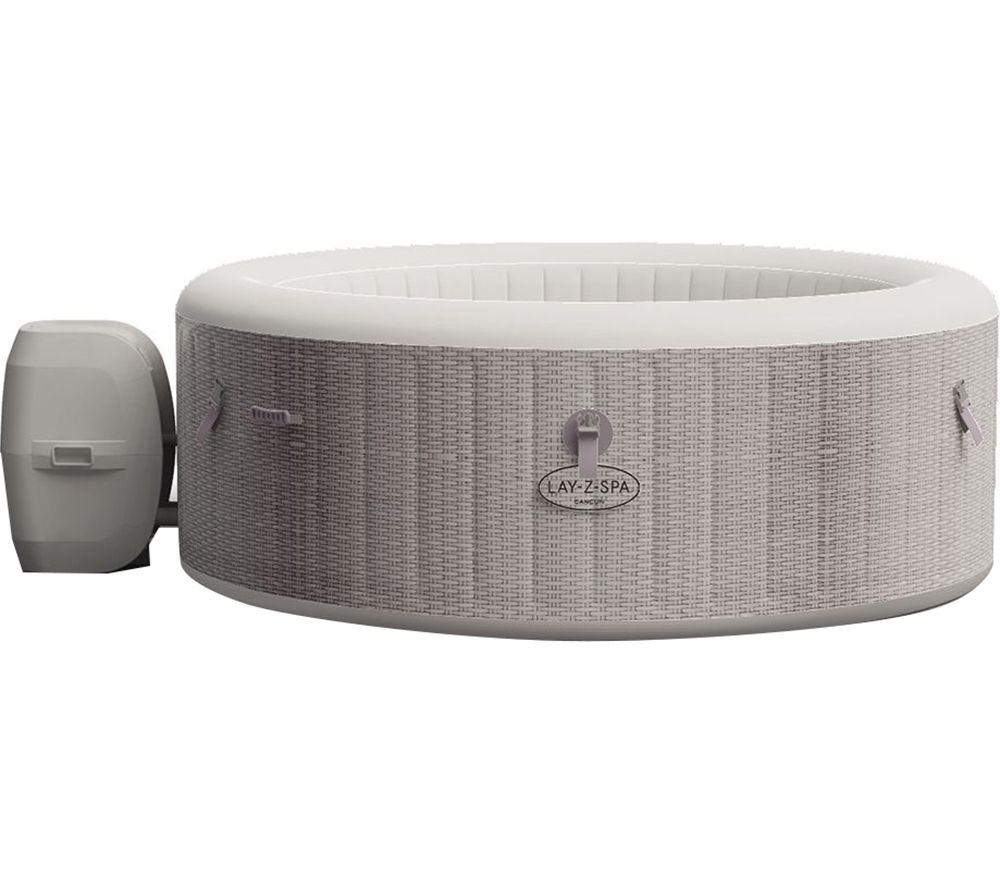 LAY-Z-SPA Cancun AirJet Inflatable Hot Tub - Grey Rattan, Grey