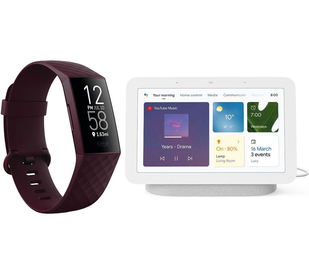 FITBIT Charge 4 Fitness Tracker & Nest Hub (2nd Gen) Smart Display Bundle - Rosewood & Chalk