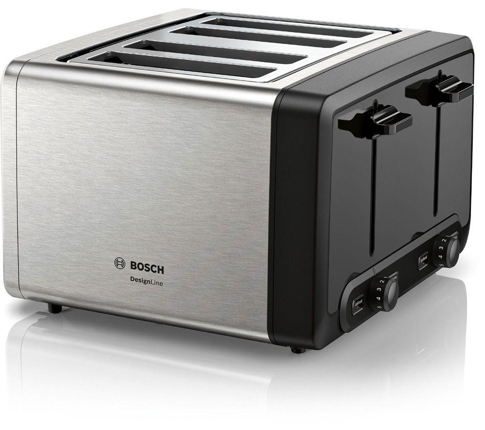 BOSCH DesignLine Plus TAT4P440GB 4-Slice Toaster - Silver, Silver