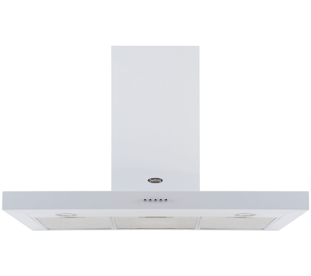 BELLING 110DB Flat Chimney Cooker Hood - White, White