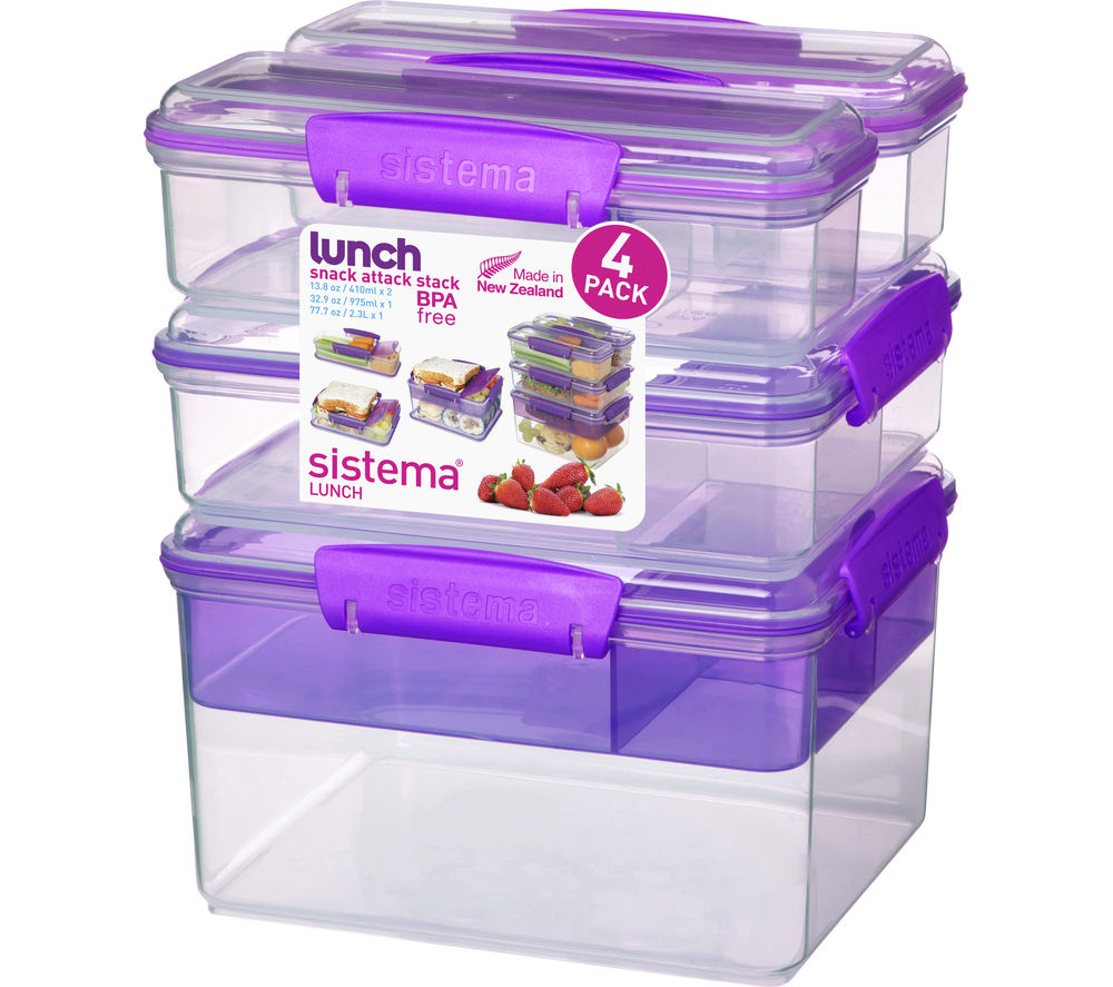 SISTEMA Snack Attack Stack Rectangular Boxes - Purple, Pack of 4