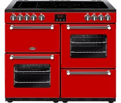 BELLING Kensington 100E Electric Ceramic Range Cooker - Red & Chrome Best Price, Cheapest Prices