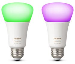 PHILIPS Hue White & Colour Ambience Wireless Bulb - E27, Twin Pack
