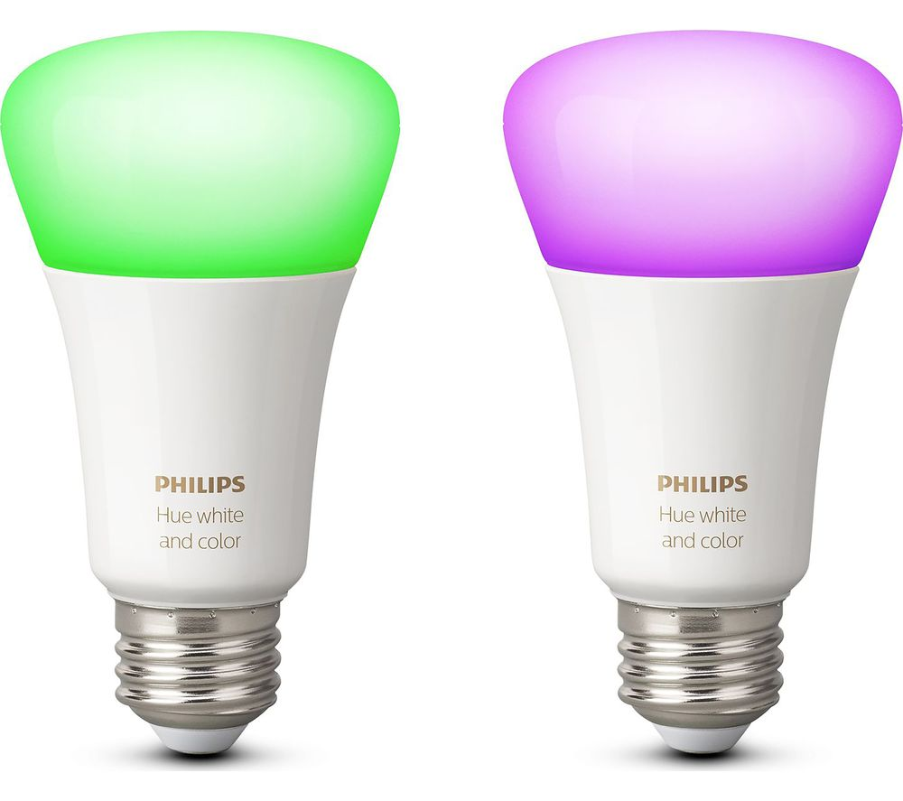 PHILIPS Hue White & Colour Ambience Wireless Bulb - E27, Twin Pack + Echo - Heather Grey Fabric