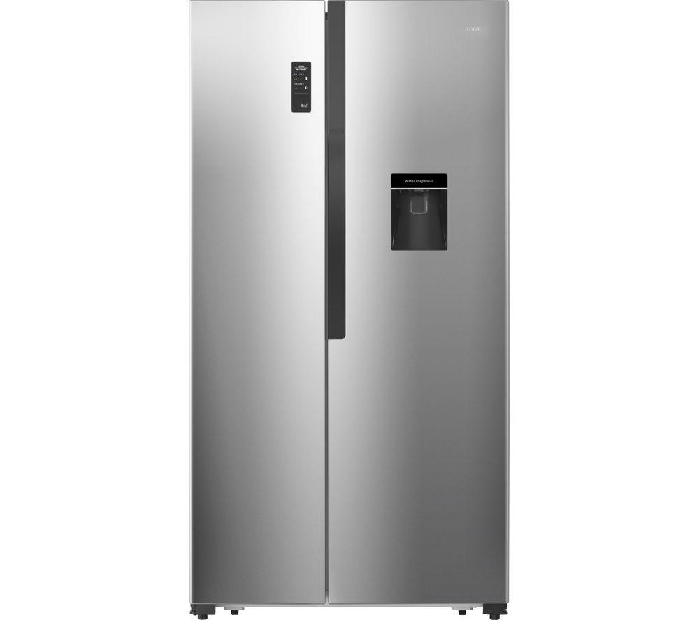LOGIK American-Style Fridge Freezer Inox Silver LSBSDX18, Silver