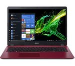 £399, ACER Aspire 3 A315-54 15.6inch Intel® Core™ i5 Laptop - 1 TB HDD, Red, Achieve: Fast computing with the latest tech, Windows 10, Intel® Core™ i5-8265U Processor, RAM: 8GB / Storage: 1 TB HDD, Battery life:Up to 8 hours,