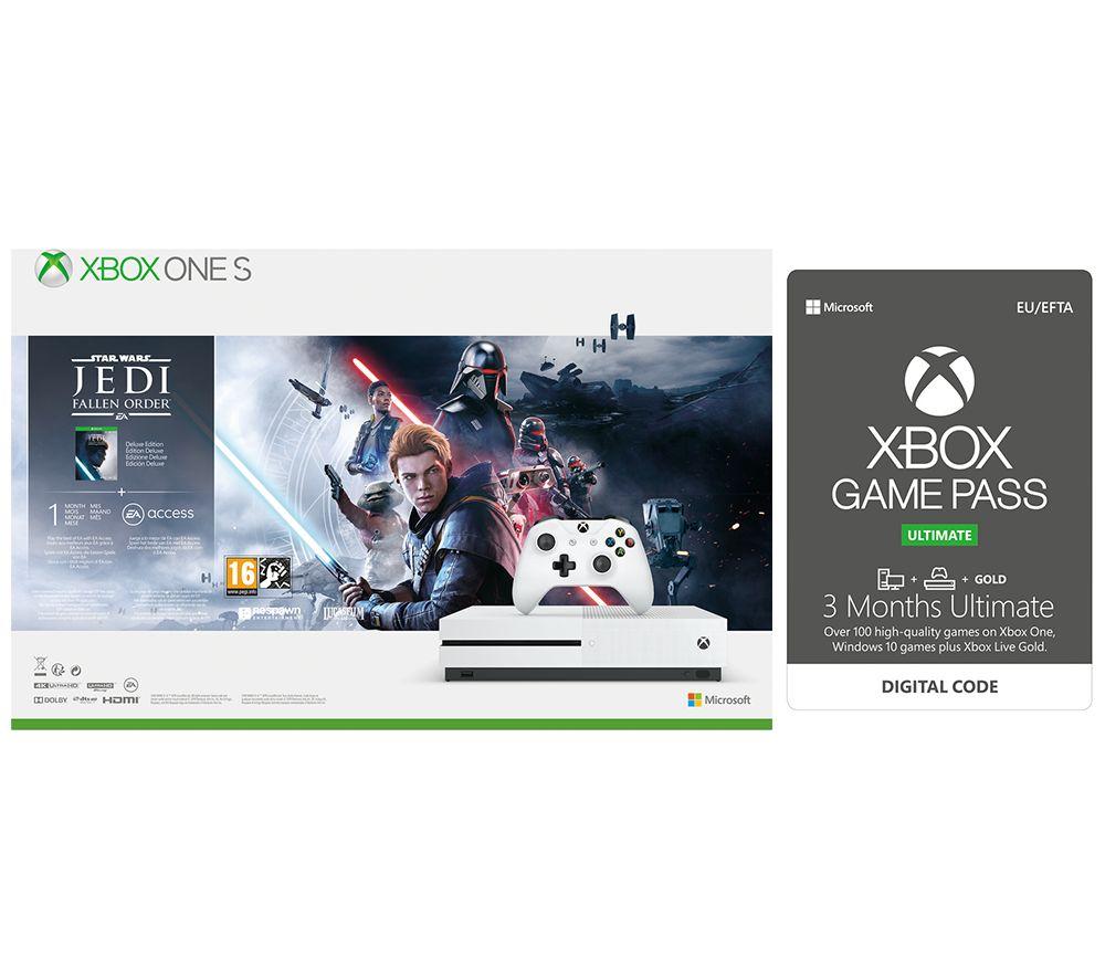 Image of MICROSOFT Xbox One S with Star Wars Jedi: Fallen Order Deluxe Edition & 3 Months Xbox One Game Pass Ultimate Bundle - 1 TB, Gold