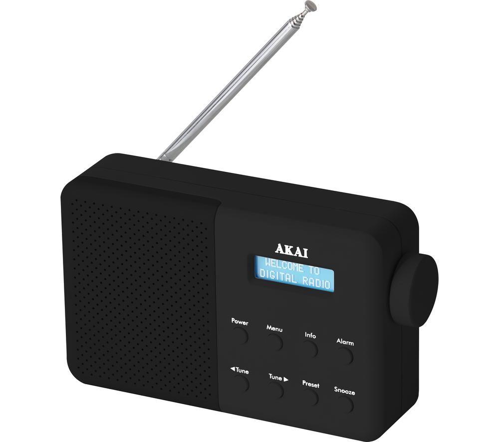 Image of AKAI A61041B Portable DAB Radio - Black, Black