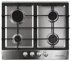 RH60GH402SS Gas Hob - Stainless Steel & Black