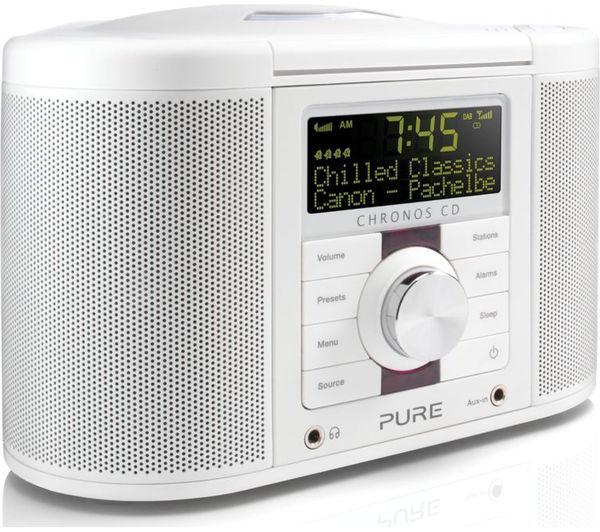 Image of PURE Chronos CD Series II DAB Clock Radio - White