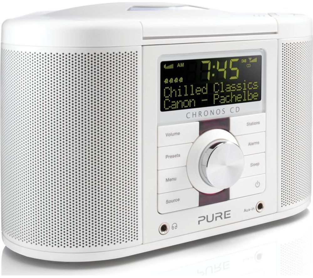 pure chronos cd series ii dab clock radio white deals pc world. Black Bedroom Furniture Sets. Home Design Ideas