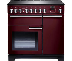 RANGEMASTER Professional Deluxe 90 Electric Induction Range Cooker - Cranberry & Chrome Best Price, Cheapest Prices
