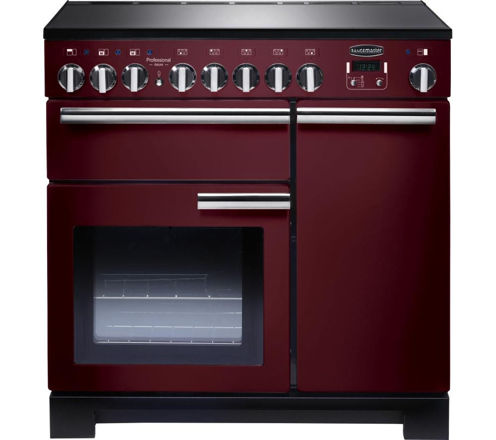 RANGEMASTER Professional Deluxe 90 Electric Induction Range Cooker - Cranberry & Chrome