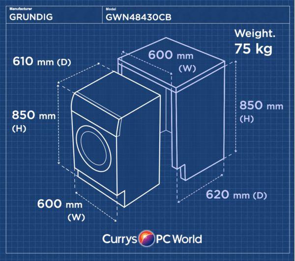 Buy GRUNDIG GWN48430CB Washing Machine - Black | Free ...