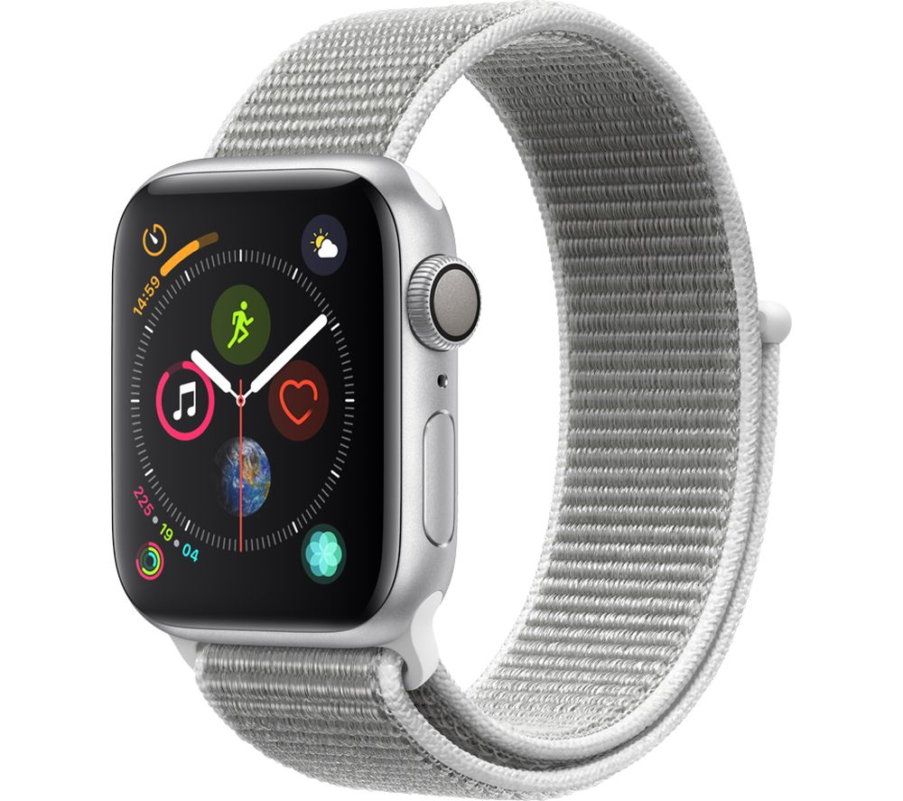 APPLE Watch Series 4 - Silver & Seashell Sports Loop, 40 mm