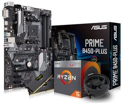 PC SPECIALIST AMD Ryzen 5 Processor, PRIME B450-PLUS Motherboard, 8 GB RAM & AMD Cooler Components Bundle