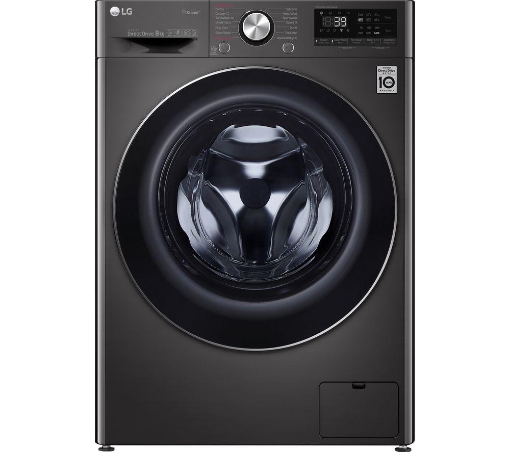LG TurboWash 360 with AI DD V9 F4V909BTS WiFi-enabled 9 kg 1400 Spin Washing Machine - Black Steel