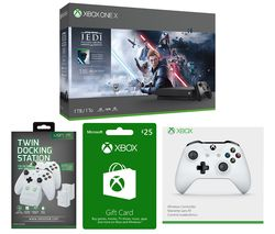 MICROSOFT Xbox One X with Star Wars Jedi: Fallen Order Deluxe Edition, Wireless Controller, Twin Docking Station & £25 Xbox Live Gift Card Bundle