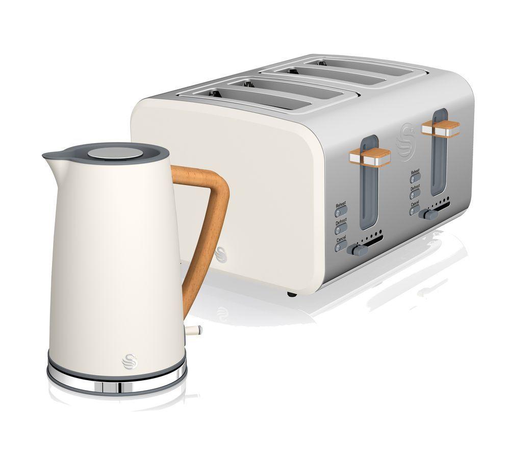 SWAN Nordic 4-Slice Toaster & Jug Kettle Bundle - White
