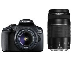 EOS 2000D DSLR Camera with EF-S 18-55 mm f/3.5-5.6 III & EF 75-300 mm f/4-5.6 III Lens