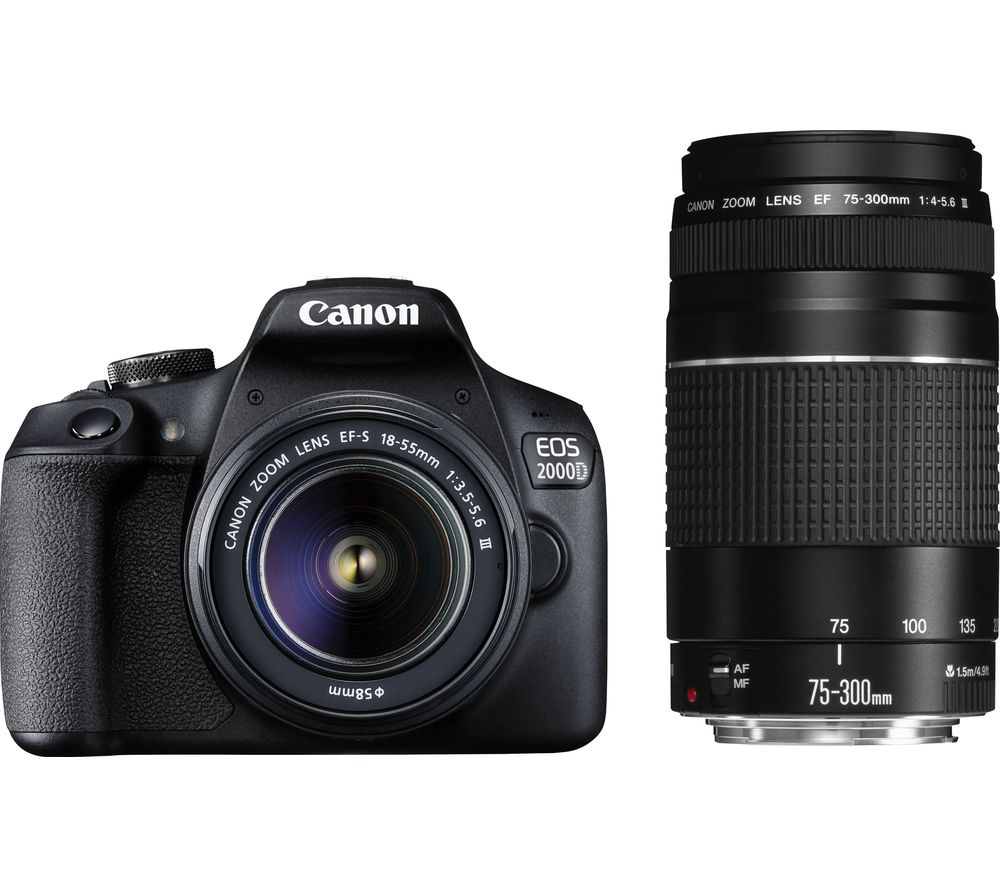 CANON EOS 2000D DSLR Camera with EF-S 18-55 mm f/3.5-5.6 III & EF 75-300 mm f/4-5.6 III Lens